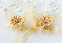 Mustard Flower Wrist Corsage Kanzashi Bridal by HandyCraftTS