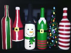 Christmas wine bottle painting craft!