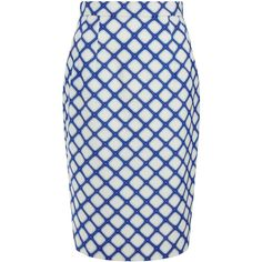 Jonathan Saunders Sally Blue Graphic Print Pencil Skirt ($320) ❤ liked on Polyvore featuring skirts, blue, high waisted skirts, pleated pencil skirt, knee length pencil skirt, blue skirt and high-waisted skirts
