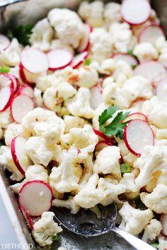 Garlic Parmesan Cauliflower Salad by diethood #Salad #Cauliflower #Healthy