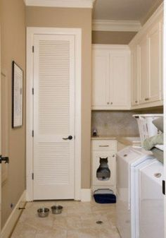 If you have a small home AND cats, then you probably keep the cat food and litter box in your laundry room. That can take up a lot of valuable space, SO stack up that food and litter box on a shelf. Found on Southern Sprout. Laundry Room Wall Decor, Laundry Room Signs, Laundry Room Organization, Basement Laundry, Laundry Rooms, Garage Laundry, Laundry Closet, Hide Water Heater, Water Heaters