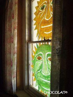 Sun Faces On Glass