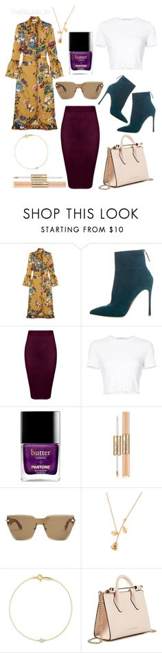 """""""Erdem Siren Ruffled Printed Silk Satin Dress"""" by thebaublelife ❤ liked on Polyvore featuring Erdem, Gianvito Rossi, Rosetta Getty, Estée Lauder, Givenchy, Elsa Peretti, Strathberry, StreetStyle, luxury and Casadei"""