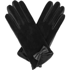 OASIS Suede Bow Glove ($12) ❤ liked on Polyvore featuring accessories, gloves, black, suede gloves, suede leather gloves, bow gloves and mitt
