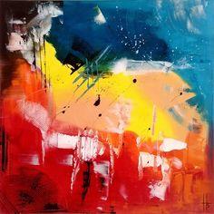 tableau abstrait peinture 80x80 cm 3d tout en couleurs peintures par zou67 - Tableau Abstrait Color