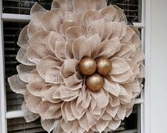 Ivory Poinsettia Wreath - Christmas