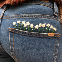 Photo by Embroidery 🌱 Вышивка on April via Embroidery On Clothes, Embroidery Works, Cute Embroidery, Embroidered Clothes, Hand Embroidery Designs, Embroidery Stitches, Embroidery Patterns, Jean Embroidery, Painted Jeans