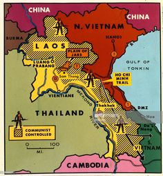 (Original Caption) A color map of Laos shows Communist-controlled areas in Laos and surrounding countries and bodies of water.