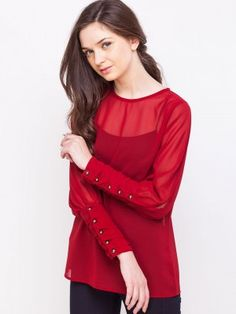 Oliv for Women - Buy Online Women Oliv in India at Koovs Sheer Blouse, Ruffle Blouse, Parineeti Chopra, Kurti Neck Designs, Trendy Tops For Women, Effortless Chic, Sheer Tops, Detail, Buttons