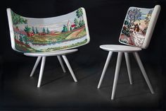 Needlepointed chair backs