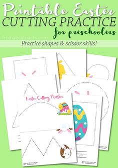 Learning how to properly use a pair of scissors is an essential stepping stone towards learning to write for preschoolers. These printable Easter cutting practice pages are perfect for working on those sometimes tricky scissor skills! Free Preschool, Preschool Printables, Preschool Lessons, Preschool Crafts, Easter Crafts, April Preschool, Science Crafts, Printable Worksheets, Holiday Crafts