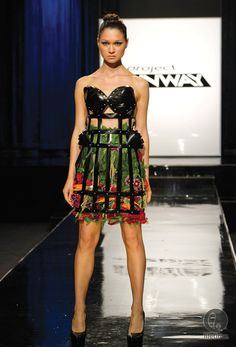 project runway unconventional challenge my fav..MINI BLINDS, SCREWS,AND FLOWERS