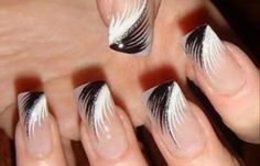 Feather nail art is maybe the most effective alternative that you simply will create. However, there is also times that you simply feel as if making feather nail art is just too. Black Nail Designs, Simple Nail Designs, Nail Art Designs, Nails Design, Pedicure Designs, Beautiful Nail Art, Gorgeous Nails, Pretty Nails, Nice Nails