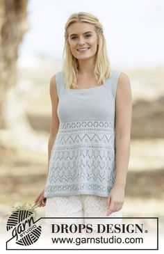 """Knitted DROPS top in garter st with lace pattern, worked top down in """"Safran"""". Size S-XXXL. Free pattern by DROPS Design."""