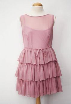 Vestido en gasa de bambula en color rosa viejo