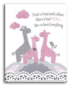 Loving this Pink & Gray Giraffe 'Now We Have Everything' Print on #zulily! #zulilyfinds