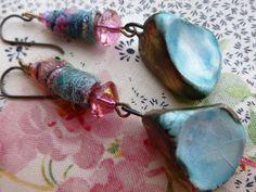 Sky Blue Ceramic Earrings; Raindrop Earrings, Organic Earrings, Fiber Bead Earrings, FiberBeads, ScorchedEarth; Aretes; Ohrringe;