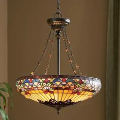 Found it at Wayfair - Belle Fleur 4 Light Tiffany Inverted Pendant Stained Glass Light, Stained Glass Patterns, Cuisine Home Depot, Tiffany Chandelier, Led Röhren, Unique Lamps, Bedroom Lighting, Hallway Lighting, Chandeliers