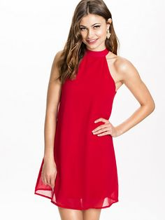 High Neck Swing Dress - Club L - Red - Feestjurken - Kleding - Vrouw - Nelly.com