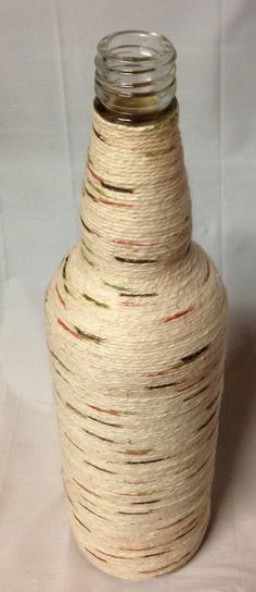 Yarn Wrapped Glass Bottle Vase. Recycled Glass Bottle. Home Decor. on Etsy, $7.00