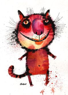The magenta nose cat original painting by ozozo on Etsy, €80.00