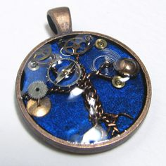 Blue & Antique Bronze Steampunk Tree of Life by ElementalKarma, $12.00