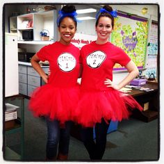 Templates Teacher 1 & Teacher Thing 1 & Thing 2 costumes for Dr. Seuss Birthday Read Across America Dr Seuss Costumes, Teacher Halloween Costumes, Book Costumes, World Book Day Costumes, Costume Ideas, Teacher Book Week Costume, Teacher Book Character Costumes, Halloween Ideas, Seussical Costumes