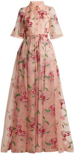 CAROLINA HERRERA Floral-embroidered silk gown