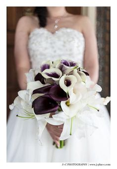 J + C Photography  www.divaweddingdesign.com  flowers by diva wedding design  purple and white wedding bouquets