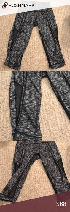 New Lululemon Cropped Pants with Mesh Cutouts New Lululemon Cropped Pants with mesh cutouts. Size 6 but they fit small. Have only been worn once. Handled with care. I am selling them because they fit more like a size 4.  Bundle and save! 😊 lululemon athletica Pants Leggings