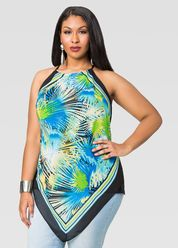a3b8b6b3522 Asymmetric Mock Neck Blouse-Plus Size Tops-Ashley Stewart Plus Size Skirts