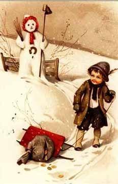 ️Antique Holiday Postcard.. Snowman.