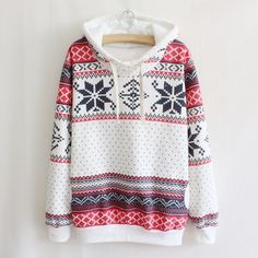 14.99$  Buy here - http://aicl4.worlditems.win/all/product.php?id=G0795W-S - Fashion Women Hoodie Snowflake Print Long Sleeve Pullover Christmas Sweatshirt Sportwear