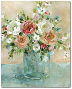 Courtside Market Sun Drenched Arrangemen Gallery-Wrapped Canvas Wall Art - 16 x 20 Canvas Art Prints, Canvas Wall Art, Pastel Floral, Floral Wall Art, Farmhouse Style Decorating, Shabby Chic Decor, Shabby Chic Wall Art, Floral Bouquets, Wood Wall Art