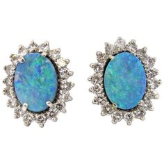 Australian Black Opal Diamond 14K Gold Earrings Featured in our upcoming auction on September 13!