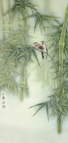Birds and Bamboo – WS Chan Lou Dahua Chinese Artist. Birds and Bamboo Lou Dahua Chinese Artist. Birds and Bamboo Japanese Painting, Chinese Painting, Chinese Art, Chinese Brush, Art Chinois, Art Asiatique, Art Japonais, Japanese Prints, Japan Art