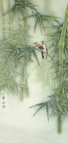 """Lou Dahua  """"Birds and Bamboo"""""""