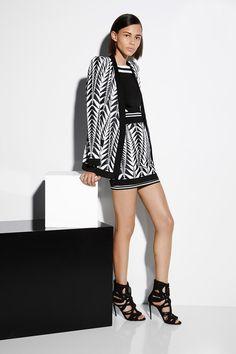 Balmain Resort 2015 Black and White Printed Skirt Suit