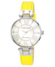 Anne Klein Watch, Women's Yellow Lambskin Leather Strap 34mm 10-9919MPYL - Women's Watches - Jewelry & Watches - Macy's