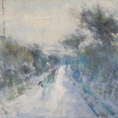 wet snow, cornish lane by Hannah Woodman Watercolor Landscape, Abstract Landscape, Landscape Paintings, Abstract Art, Snow Scenes, Winter Scenes, Winter Art, Winter Snow, Painting Snow