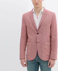 ZARA - CHAMBRAY BLAZER WITH ELBOW PATCHES AND BADGE