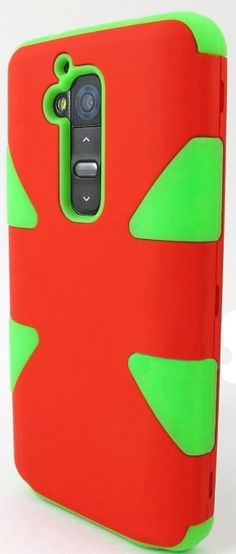 myLife Cherry Red/Bright Green {Dual-Colored Hard Shell Design} 3 Piece Neo Hybrid Case for the for the LG G2 Smartphone (External Rubberize...