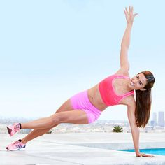 Fallen Triangle  Trouble Zone: Belly  Why it hits the spot: Balancing in a full push-up pose and rotating to a side plank tones the deep abs, aka the transversus abdominis muscle, drawing your waistline in.  Targets: Shoulders, abs, obliques, and inner thighs