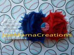 FREE SHIPPING / red white and blue shabby chic by JoeMamaCreations, $10.00