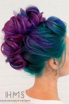 gorgeous dark rainbow hair