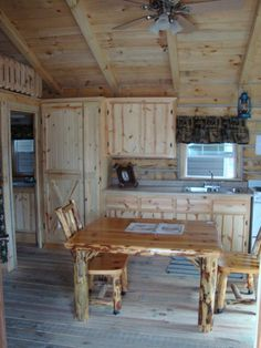 Amish made cabin and furniture~ looks like my table and chairs