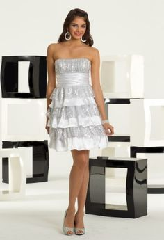 White Dresses - Strapless Satin and Sequin Tiered Prom Dress from Camille La Vie and Group USA