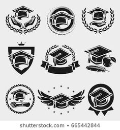 Find Graduation Cap Labels Set Vector stock images in HD and millions of other royalty-free stock photos, illustrations and vectors in the Shutterstock collection. Thousands of new, high-quality pictures added every day. Graduation Cap Drawing, Graduation Logo, Senior Year Of High School, Kawaii Disney, Order Form Template, Crest Logo, Shield Design, Café Bar, School Logo