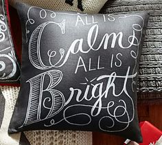 All is Calm All is Bright Pillow Cover #potterybarn