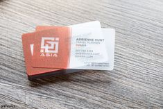Custom design for ASIA. Frosted plastic business cards provide a slight textured and cloudy look to them.